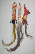 American Indian Art:Beadwork and Quillwork, THREE SIOUX QUILLED HIDE HAIR DROPS... (Total: 3 Items)