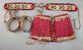 American Indian Art:Beadwork and Quillwork, THREE PAIRS OF SIOUX QUILLED HIDE ITEMS... (Total: 6 Items)