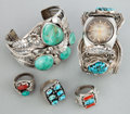 American Indian Art:Jewelry and Silverwork, FIVE SOUTHWEST SILVER AND STONE JEWELRY ITEMS. c. 1975... (Total: 5Items)