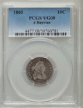 Early Dimes: , 1805 10C 4 Berries VG8 PCGS. PCGS Population (20/325). NGC Census:(2/30). Mintage: 120,780. Numismedia Wsl. Price for prob...