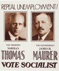 Political:Posters & Broadsides (1896-present), Thomas & Maurer: 1932 Socialist Party Jugate Poster....