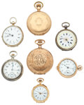 Timepieces:Pocket (post 1900), A Lot Of Six Pocket Watches For Parts Or Repair & One Hunter'sCase. ... (Total: 7 Items)
