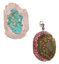Estate Jewelry:Pendants and Lockets, Tourmaline, Rose Quartz, Turquoise, Diamond, Gold-Plated Jewelry. ... (Total: 2 Items)