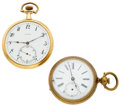 Timepieces:Pocket (post 1900), Agassiz 18k Gold & Swiss Open Face Pocket Watches. ... (Total:2 Items)