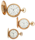 Timepieces:Pocket (post 1900), 14k Gold Elgin & Two Gold Filled Hunter's Case Pocket Watches. ... (Total: 3 Items)