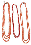 Estate Jewelry:Necklaces, Coral Necklaces. ... (Total: 3 Items)