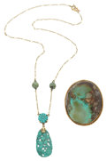 Estate Jewelry:Lots, Turquoise, Gold Jewelry. ... (Total: 2 Items)
