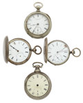 Timepieces:Pocket (pre 1900) , Four Key Wind Pocket Watches For Parts Or Repair. ... (Total: 4Items)