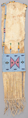 A SIOUX BEADED HIDE TOBACCO BAG c. 1880