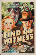 """Movie Posters:Crime, Find the Witness (Columbia, 1937). One Sheet (27"""" X 41""""). Crime....."""