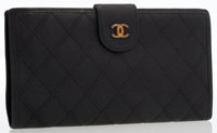 Chanel Black Caviar Leather Wallet with Gold Hardware