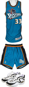 Basketball Collectibles:Uniforms, 1996-97 Grant Hill Game Worn Detroit Pistons Jersey, Shorts,Shoes....