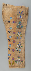 American Indian Art:Beadwork and Quillwork, A PAIR OF SANTEE SIOUX BEADED HIDE TROUSERS. c. 1890...