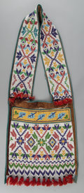American Indian Art:Beadwork and Quillwork, A POTAWATOMI LOOM- BEADED BANDOLIER BAG. c. 1890. ...
