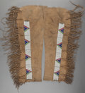 American Indian Art:Beadwork and Quillwork, A PAIR OF SIOUX BEADED HIDE LEGGINGS. c. 1900... (Total: 2 Items)