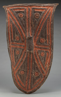 Kirdi, (Nigeria / Cameroon Border) Shield Mid-20th century Leather with natural pigments Height: 38 inch