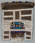 Tribal Art, Ndebelle, (South Africa). Married woman's apron (Mapoto). Firsthalf 20th century. Beads, leather, cotton. Length: 19 ¾ inc...