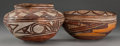 American Indian Art:Pottery, TWO HOPI (POLACCA) POLYCHROME VESSELS. c. 1870... (Total: 2 Items)