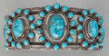 American Indian Art:Jewelry and Silverwork, A NAVAJO SILVER AND TURQUOISE BRACELET. Frank Peshlakai. c. 1940...
