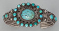 American Indian Art:Jewelry and Silverwork, A ZUNI/NAVAJO SILVER AND TURQUOISE BRACELET. c. 1925...