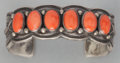 American Indian Art:Jewelry and Silverwork, A NAVAJO SILVER AND CORAL BRACELET. Harry H. Begay. c. 1990...