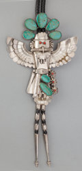American Indian Art:Jewelry and Silverwork, A NAVAJO SILVER AND STONE BOLO TIE. c. 1970 ...
