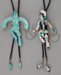 American Indian Art:Jewelry and Silverwork, TWO ZUNI SILVER AND STONE BOLO TIES. Jonathan Beyuka. c. 1980...(Total: 2 Items)