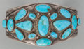 American Indian Art:Jewelry and Silverwork, A NAVAJO SILVER AND TURQUOISE BRACELET. c. 1920...