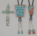 American Indian Art:Jewelry and Silverwork, THREE SOUTHWEST SILVER AND STONE JEWELRY ITEMS. c. 1975... (Total:3 Items)