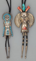 American Indian Art:Jewelry and Silverwork, TWO NAVAJO SILVER, STONE, AND SHELL BOLO TIES. c. 1970... (Total: 2Items)