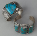American Indian Art:Jewelry and Silverwork, TWO NAVAJO SILVER AND TURQUOISE BRACELETS. c. 1990. ... (Total: 2Items)