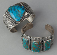 TWO NAVAJO SILVER AND TURQUOISE BRACELETS c. 1990