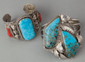 American Indian Art:Jewelry and Silverwork, TWO NAVAJO SILVER AND STONE BRACELETS. c. 1995... (Total: 2 Items)