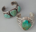 American Indian Art:Jewelry and Silverwork, TWO NAVAJO SILVER AND TURQUOISE BRACELETS. c. 1995. ... (Total: 2Items)