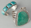 American Indian Art:Jewelry and Silverwork, TWO NAVAJO SILVER AND TURQUOISE BRACELETS. c. 1995... (Total: 2Items)