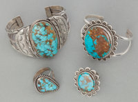 FOUR NAVAJO SILVER AND TURQUOISE JEWELRY ITEMS c. 1990