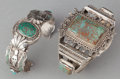American Indian Art:Jewelry and Silverwork, TWO NAVAJO SILVER AND TURQUOISE BRACELETS. c. 1980... (Total: 2Items)