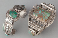 TWO NAVAJO SILVER AND TURQUOISE BRACELETS c. 1980