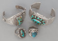 American Indian Art:Jewelry and Silverwork, FOUR NAVAJO SILVER AND TURQUOISE JEWELRY ITEMS. c. 1995... (Total:4 Items)