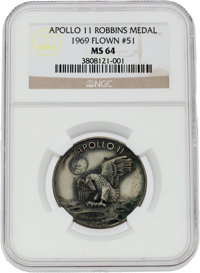 Apollo 11 Flown MS64 NGC Silver Robbins Medallion Originally from the Personal Collection of Mission Lunar Module Pilot...