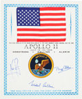 Explorers:Space Exploration, Apollo 11 Flown American Flag on a Crew-Signed PresentationCertificate, Originally from the Personal Collection of MissionLu...