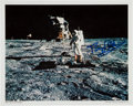 Explorers:Space Exploration, Buzz Aldrin Signed Lunar Surface Color Photo Originally from His Personal Collection, with LOA....