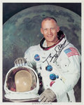 Explorers:Space Exploration, Buzz Aldrin Signed White Spacesuit Color Photo Originally from HisPersonal Collection, with LOA....