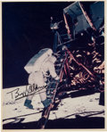 Explorers:Space Exploration, Buzz Aldrin Signed Original NASA Lunar Surface Color Photo Originally from His Personal Collection, with LOA....