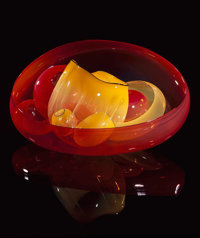 CHIHULY SPECTRA RED AND YELLOW BASKET SET WITH SLATE LIP WRAPS