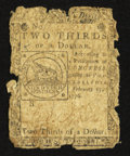 Colonial Notes:Continental Congress Issues, Continental Currency February 17, 1776 $2/3 Very Good.. ...