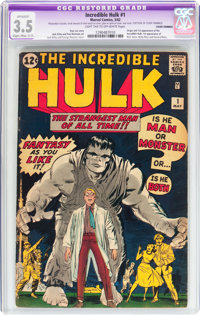 The Incredible Hulk #1 Cover Trimmed (Marvel, 1962) CGC Apparent VG- 3.5 Slight/Moderate (C-2) Light tan to off-white pa...