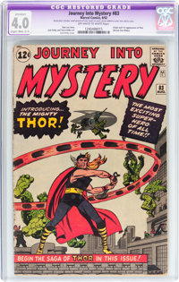 Journey Into Mystery #83 (Marvel, 1962) CGC Apparent VG 4.0 Slight/Moderate (C-2) Off-white to white pages
