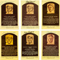 Baseball Collectibles:Others, 1980's Hall of Famers Signed Yellow Postcards - Lot of 37....