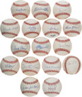 Autographs:Baseballs, 1980's-2000's 500 Home Run Club Single Signed Baseballs Lot of 16....